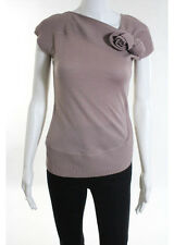 MAXMARA Dusty Pink Short Sleeve Attachable Rose Detail Ribbed Detail Top Sz L