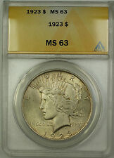 1923 Silver Peace Dollar $1 Coin ANACS MS-63 Lightly Toned