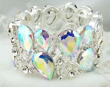 Wide AB Crystal Rhinestone Stretch Bracelet Silver Fashion Jewelry NEW