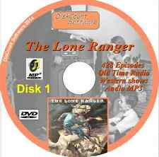 The Lone Ranger  DVD 1 -  428 episodes Old Time Radio Shows -   MP3 DVD