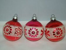 Vintage USA Blown Glass Red Pink w/Glitter Christmas Ball Ornament Lot of 3