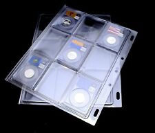 2 ALBUM PAGES FOR CERTIFIED COIN SLABS FROM PCGS, NGC AND ANACS OTHER, BINDER