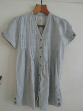 White & Blue Stripe Short Sleeve River Island Blouse / Top Size 8 Loose Fit