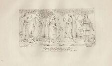 1803 Raffaello incisione in acciaio Mnemosine Musa Cupido
