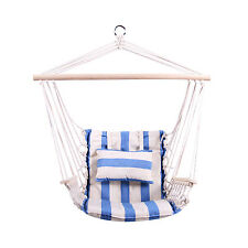 Hanging Rope Hammock Chair Outdoor Canvas Stripe Air Swing Porch Seat Yard Patio