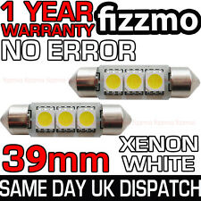 2x ERROR FREE CANBUS 3 SMD LED 39mm 239 272 C5W XENON WHITE NUMBER PLATE BULB UK