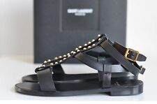 NIB Auth YSL Saint Laurent Stud T-strap Leather Flat Sandals Shoe sz 6.5 / 36.5