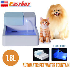 1.8L LED Automatic Pet Water Drinking Filter Fountain Bowl Dogs Cats Drinker New
