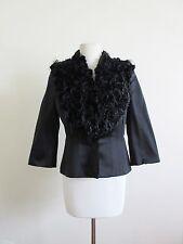 ALEXANDER MCQUEEN black 100% silk hairy floral front blazer jacket 42 6