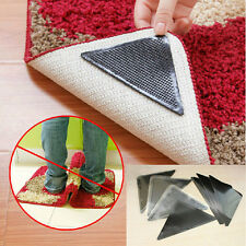 4+4 pcs Rug Carpet Mat Grippers Grip Corners Non Slip Skid Pad Washable Reusable