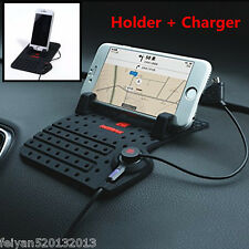Universal Car Mount Phone Holder USB Fast Charger Cradle Dashboard Pad iPhone