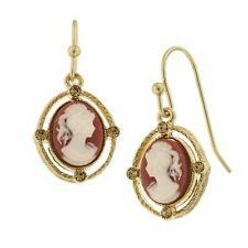 1928 Gold Tone Faux Carnelian Red and White Cameo Drop Earrings 23139