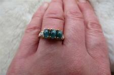 9CT 375 Yellow Gold Oval Cats Eye Green Tourmaline & Diamond Trilogy Ring Size N