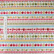 Food Fabric - Funky Fruit Border Stripe Apple Strawberry - Makower UK Cotton /Yd