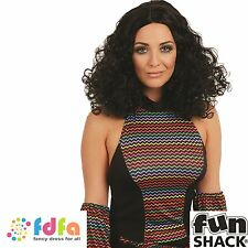 BLACK 70s DIVA CURLY PERM DISCO WIG Womens Ladies Fancy Dress Costume Accessory