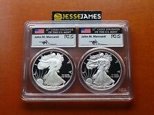 1986 S & 2016 W PROOF SILVER EAGLE PCGS PR70 DCAM FLAG MERCANTI FYOI 30TH ANN