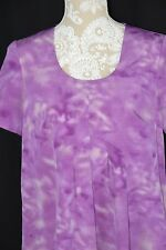 Simply Vera Wang Womens Medium Purple Tie Dye Short Sleeve Loose Fitted Shirt