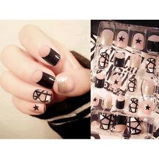 24Pcs Candy Full Nail Tip Short Oval Smooth False Nails Pure Color Nail Art Tool