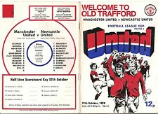 VINTAGE 1976 FOOTBALL PROGRAMME MANCHESTER UNITED v NEWCASTLE UNITED LEAGUE CUP