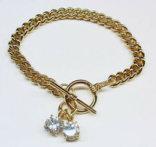 Gorgeous Solid GOLD gep Link Bracelet W 2 Large Cubic Zirconia & Toggle Clasp