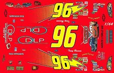 #96 Tony Raines DLP CARS movie 2006 1/64th HO Scale Slot Car Waterslide Decals