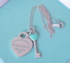 Tiffany & Co Silver Blue Enamel Heart Key & Return to Heart Pendant Necklace
