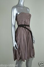 BCBG Max Azria Runway New Rose 100% Silk Strapless Corset Pleated Dress $480 2