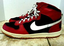 **BIG NIKE** RETRO HIGH TOP MEN SHOES SIZE 10.5 M  RED BLACK SNEAKERS LEATHER
