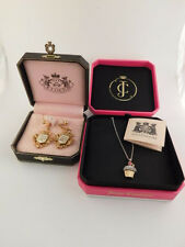 "JUICY COUTURE ""CHOOSE JUICY"" EARRINGS & CUPCAKE NECKLACE ORIGINAL BOXES"