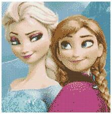Elsa & anna 14 count cross stitch kit