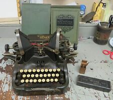 OLIVER TYPEWRITER NO: 9 WITH ALL KINDS OF STUFF OLIVER MACHINE OIL GLASS BOTTLE