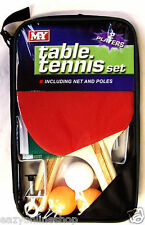 2 Giocatore Tennis da Tavolo Ping pong Set mazze 3 palline Net POLE Set Fun Sport Indoor