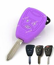 Purple Silicone Shell Remote Key Case Skin Cover Holder For Chrysler Dodge Jeep