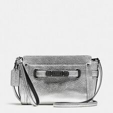 Coach 53032 Pebble Leather Swagger Wristlet Crossbody (Silver)