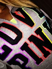 Victoria Secret Pink Rainbow Pop Out Patch Graphic Pullover Hoodie Gray S VS