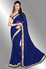 Royal Blue Bollywood Chiffon Plain Golden Border Party Wear Saree Sari TOP Dress
