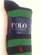 Ralph Lauren Polo 2-Pack Socks Green/Navy Striped and Solid Navy NWT