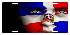 Rep Dominicana Flag Custom License Plate Dominican Emblem Girl Version # 4