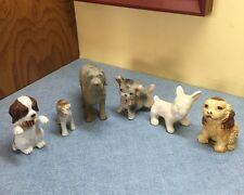 Vintage Assorted Collectible Miniature Dog Figurines Lot Of 6 Porcelain, rubber