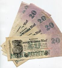OLD GERMANY 20 MILLION MARK REICHSBANK NOTE-GERMAN INFLATION CURRENCY X 5 PIECES