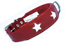 14-18 Inch Red White Stars Staffy Bull Terrier Labrador Leather Dog Collar