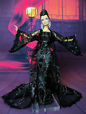 Eaki Black Coat Outfit Gown Chinese Dress Silkstone Barbie Fashion Royalty FR