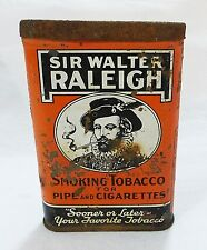 Vintage sir walter raleigh pocket smoking tobacco tin pipe cigarettes advertisin