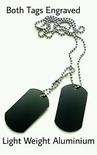 Engraved Army Military Dog Tags Black With Your Message Page Boy Birthday Gift