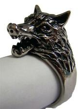 WOLF SHOWING TEETH STAINLESS STEEL RING size 9 silver metal S-505 unisex wolves