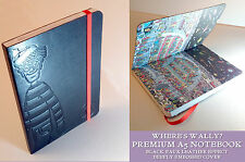 WHERE'S WALLY? PREMIUM A5 NOTEBOOK Black Embossed Cover PICTURE INSIDE Red Close