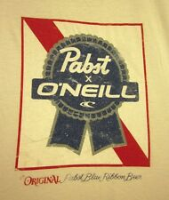 PABST BLUE RIBBON med tee PBR surfer logo T shirt Milwaukee beer O'Neill