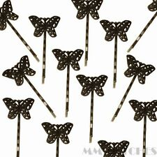 RETRO BRONZE TONE BUTTERFLY FILIGREE HAIR CLIP BOBBY PIN  HAIRPIN ACCESSORY HC05