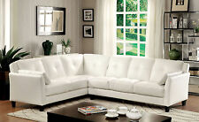 Furniture Of America Peever Sectional Sofa White Finish Leatherette Upholstery