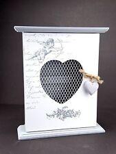 White Grey Wooden Keys Hooks Rack Cabinet Angel (CHERUB) Shabby Chic Wall Hanger